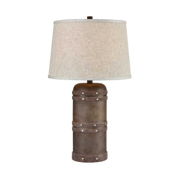 Beautiful Dimond Lighting  Alamo Table Lamp  in  COMPOSITE, FAUX LEATHERE BANDING, NAIL HEAD