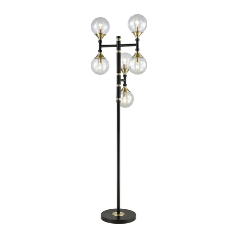 Beautiful Dimond Lighting  Hey Presto Floor Lamp in Matte Noir and Weathered Antique Brass, with Clear Glass Shades  in  Metal, Acrylic