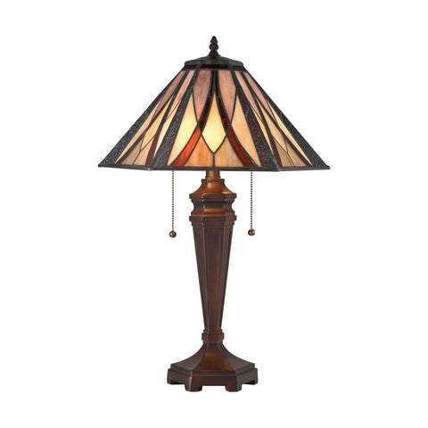 Beautiful Dimond Lighting  Foursquare Table Lamp  in  Composite, Tiffany Glass