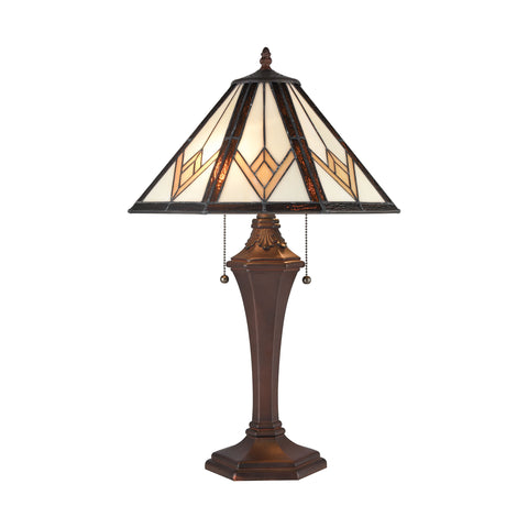 Beautiful Dimond Lighting  Johnstone Table Lamp  in  Composite, Tiffany Glass