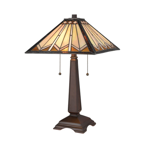 Beautiful Dimond Lighting  Fourpoint Table Lamp  in  Composite, Tiffany Glass