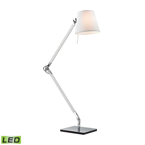Beautiful Dimond Lighting Chapeau LED Desk Lamp In Chrome And White
