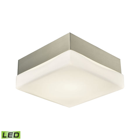 Wyngate 1 Light Square LED Flushmount In Satin Nickel And Opal Glass - Small