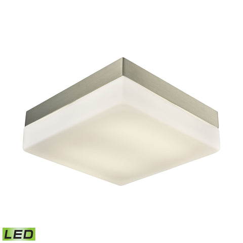 Wyngate 2 Light Square LED Flushmount In Satin Nickel And Opal Glass - Large