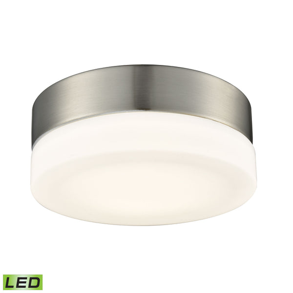 ELK Lighting  1 Light Round Flushmount in Satin Nickel with Opal Glass - Small