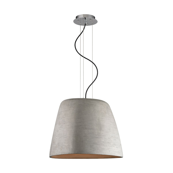 ELK Lighting  Triangle Concrete Pendant - with Chrome Finish