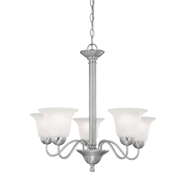Thomas Lighting  Riva 5-Light Chandelier in Brushed Nickel  5 x 100W