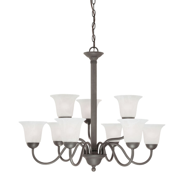 Thomas Lighting  Riva 9-Light Chandelier in Painted Bronze  9 x 60W 120