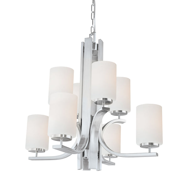 Thomas Lighting  Pendenza 8-Light Chandelier in Brushed Nickel  8 x 100W