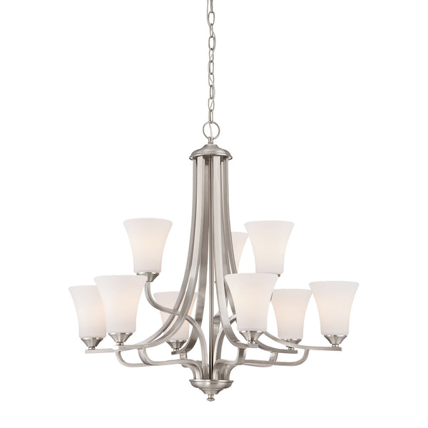 Thomas Lighting  Treme 9-Light Chandelier in Brushed Nickel  9 x 100W