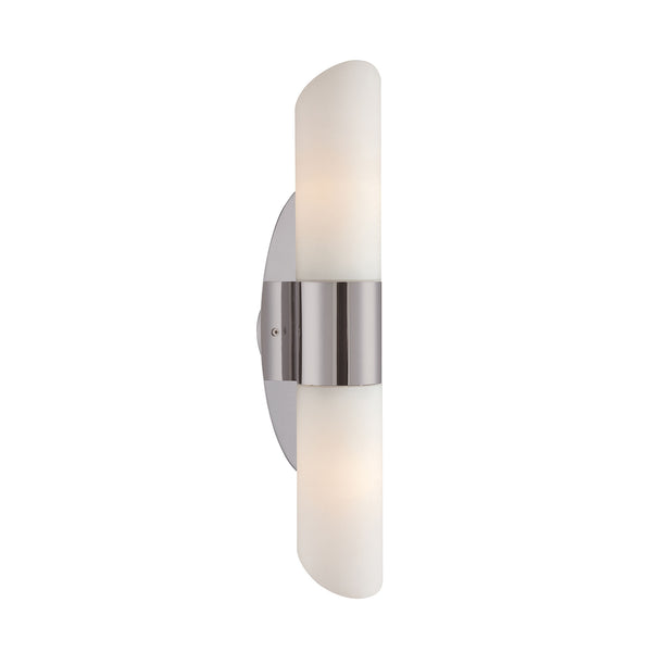 Ango 2 Light Sconce In Satin Nickel With Chamfer-Cut White Opal Glass