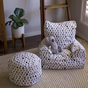 Splotches Bean Chair - Green & Grey