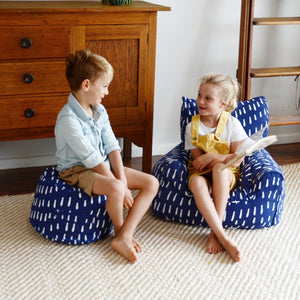 Raindrops Bean Chair - Indigo Blue
