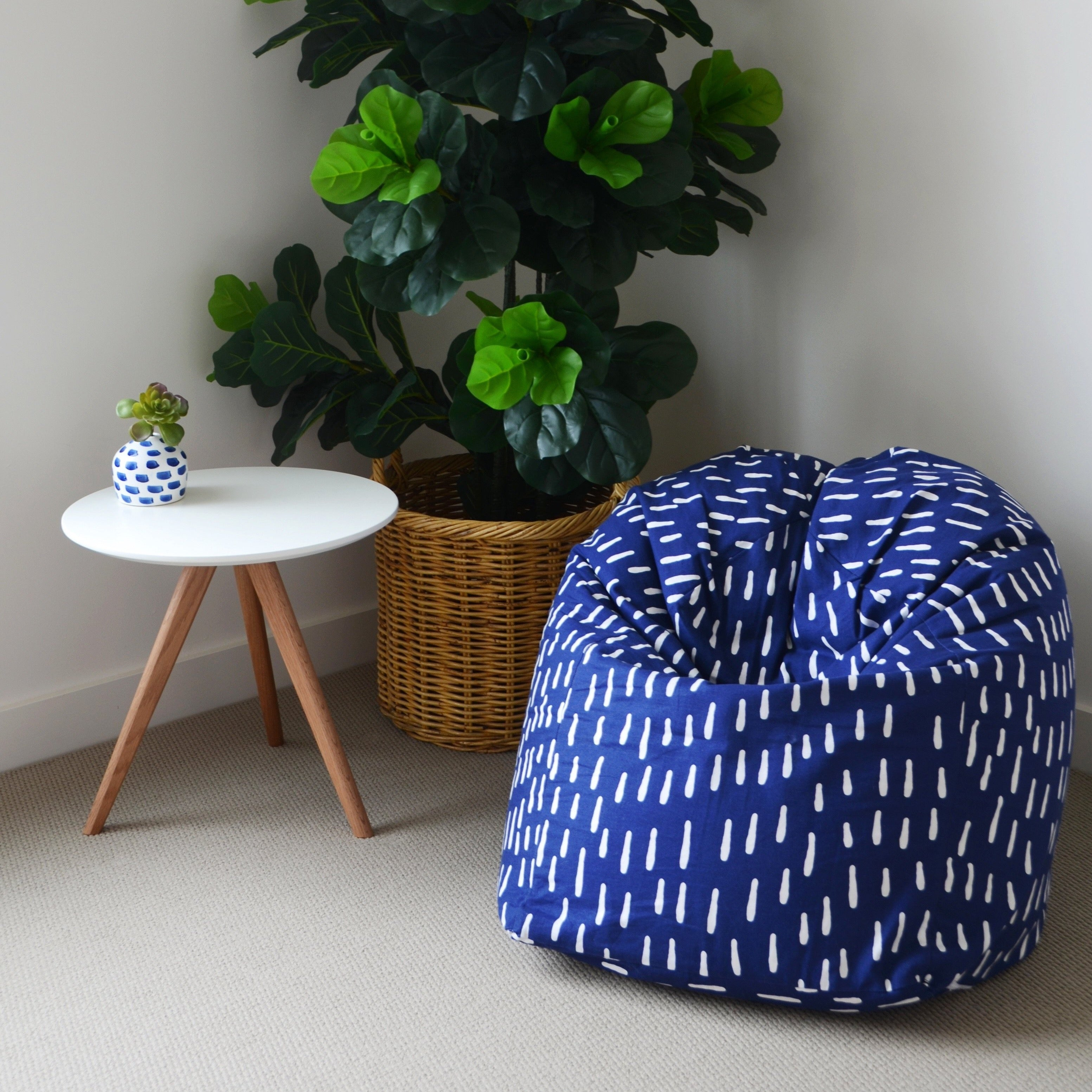 Raindrops Bean Bag - Indigo Blue