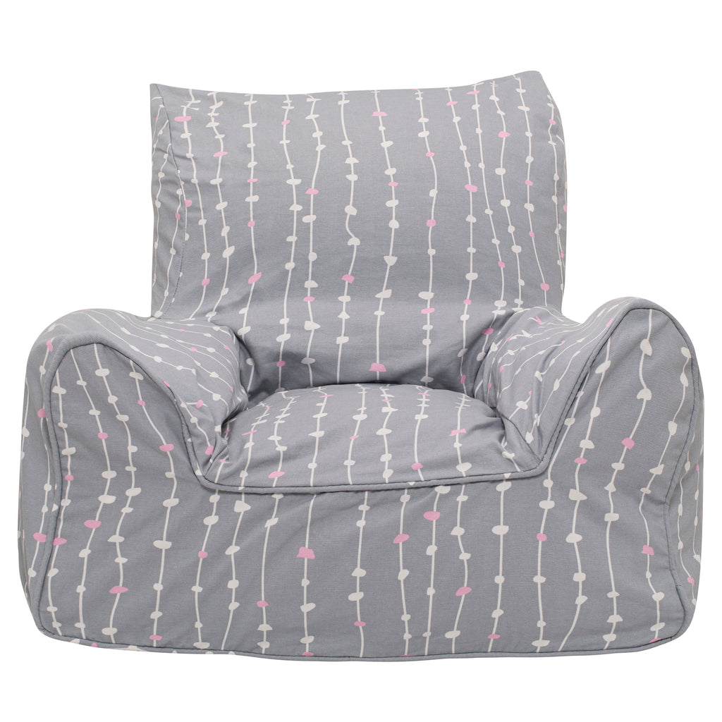Pebbles Lane Grey & Pink Bean Chair