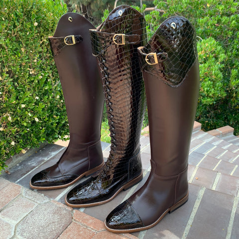 Brown Custom Derby Dressage Boots