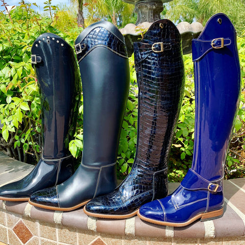 Custom Derby Boots in Navy and Royal Blue