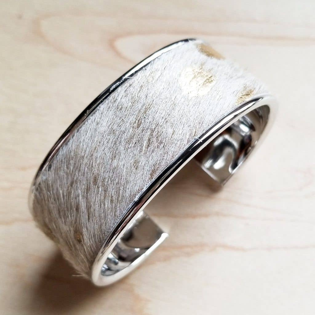 Cream and Gold Hair-on-Hide Leather Bangle Bracelet