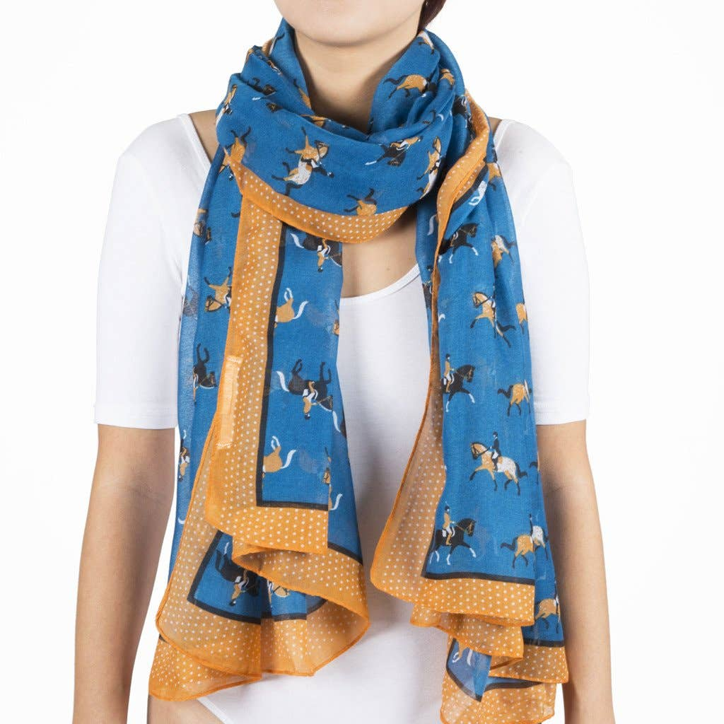 Blue Dressage Horse Scarf