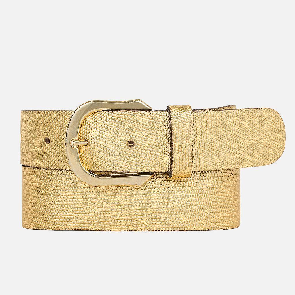 Textured Metallic Gold Leather Belt