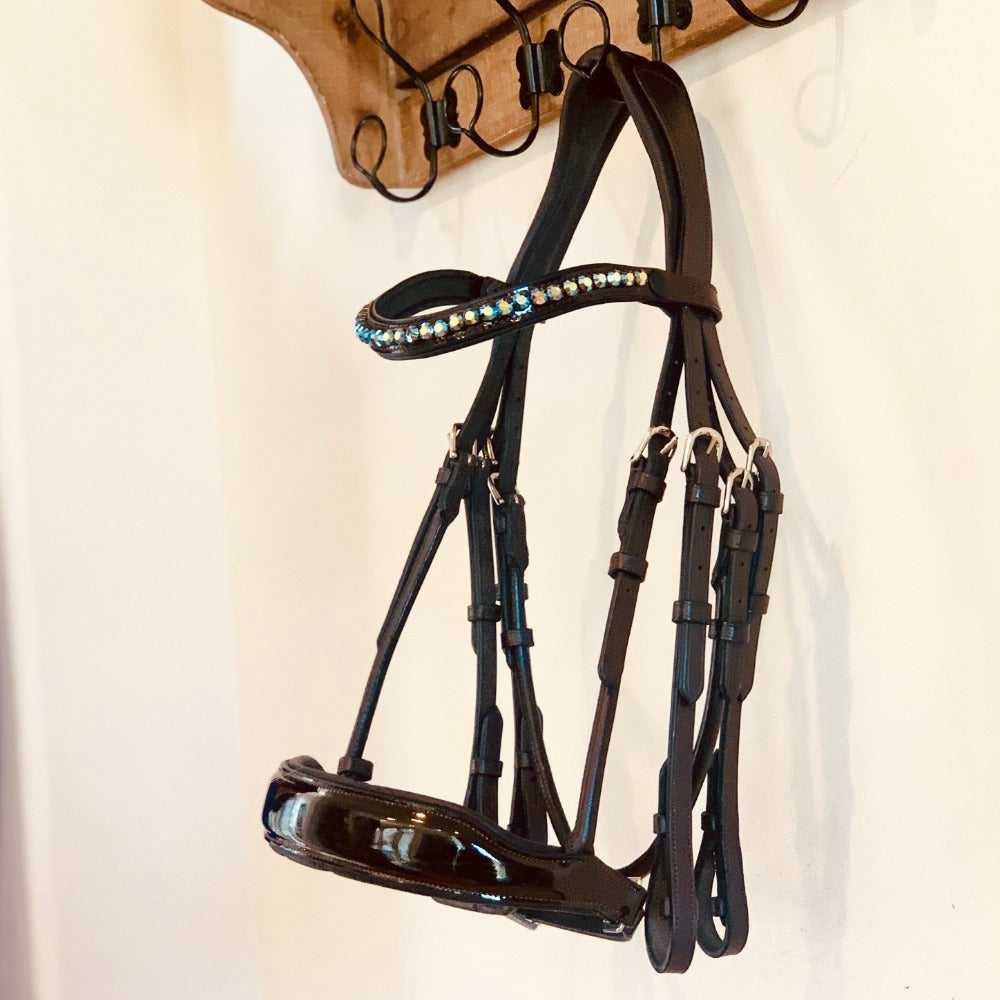 Brown Patent Rolled Leather HorseShoe Double Bridle