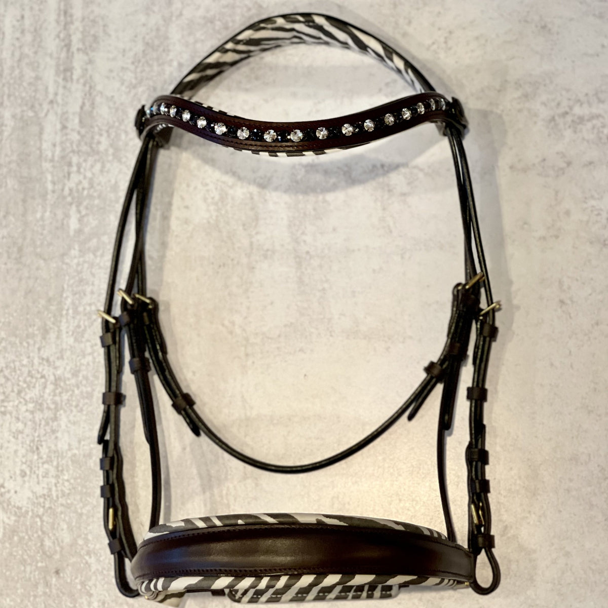 Zebra Brown Leather Snaffle Bridle - without flash