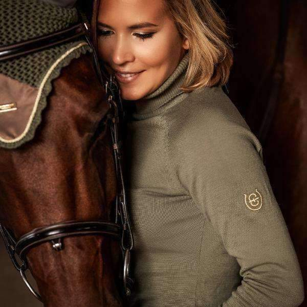 Equestrian Stockholm Golden Olive Knit Polo Top