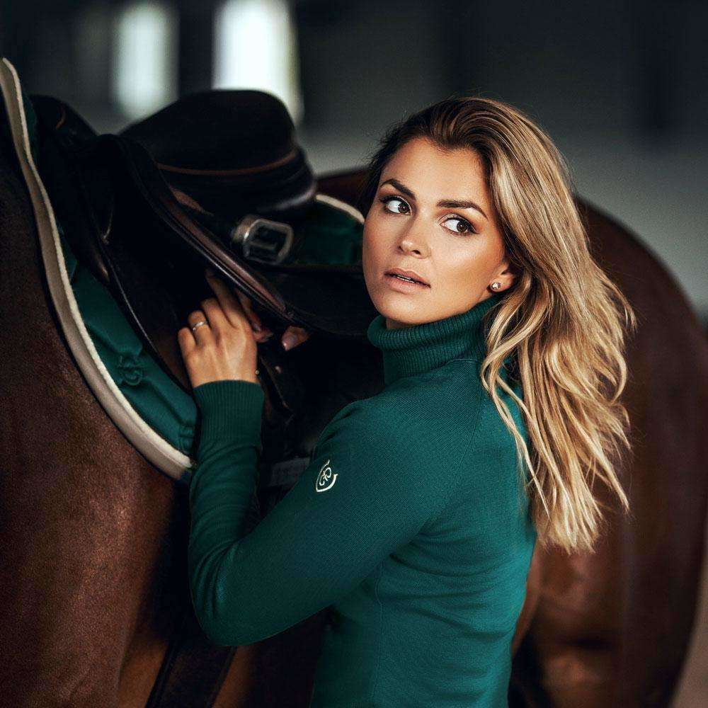 Equestrian Stockholm Knit Polo Top-  Amazonite