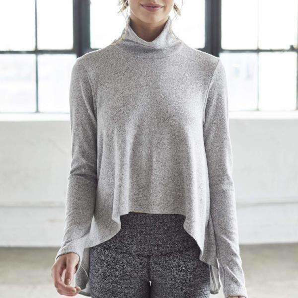 "Mock Turtleneck ""Cape"" Sweater - Heather Grey"
