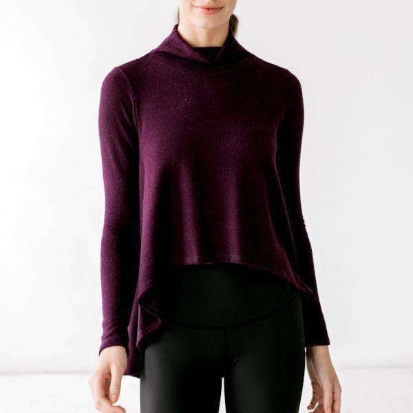 "Mock Turtleneck ""Cape"" Sweater - Heathered Burgundy"