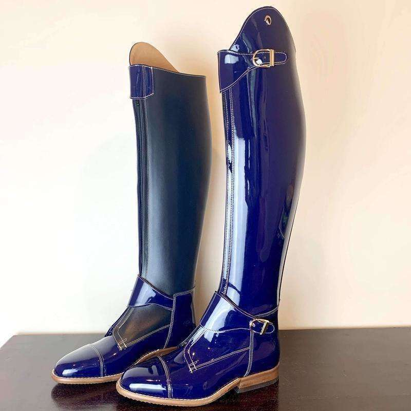 Blue Patent Polo Dressage Boots with Double Buckle - Size 38
