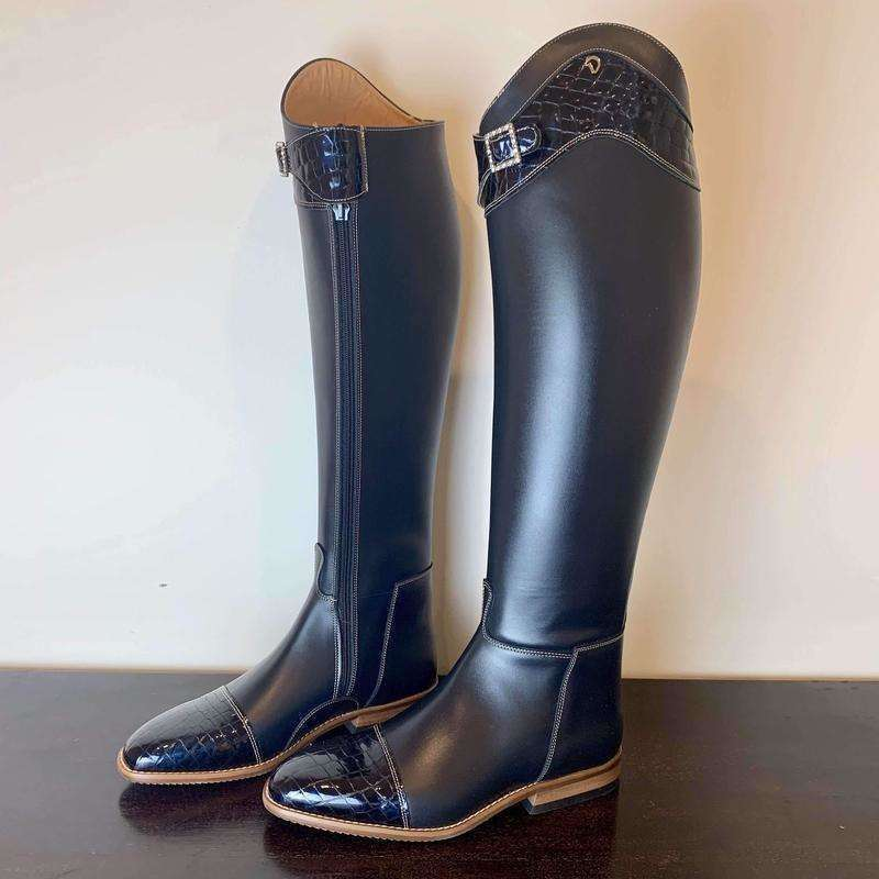 Blue Prestige Dressage Boots with Croc Trim - Size 42