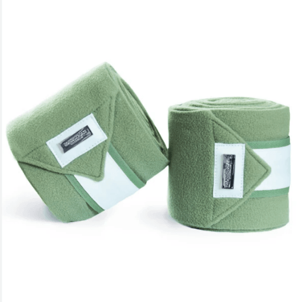 Equestrian Stockholm Pistachio White Fleece Bandages