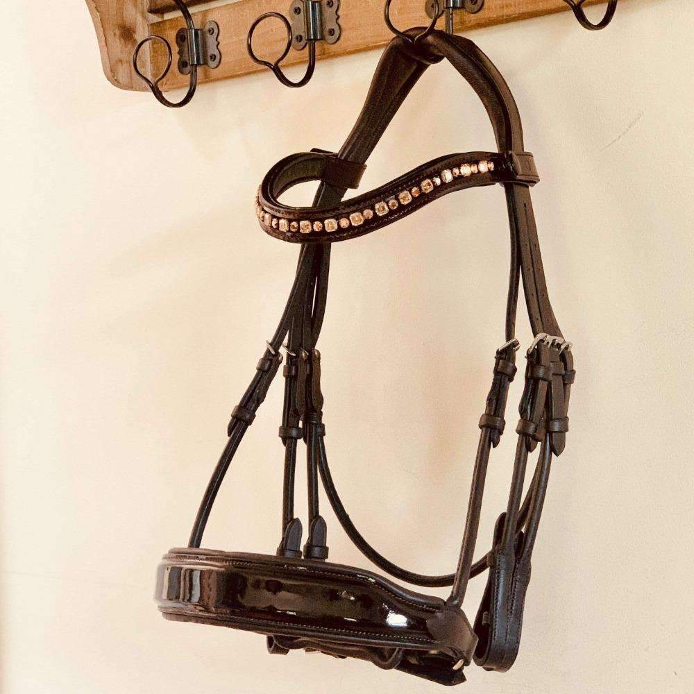 The Cleo - Brown Patent Rolled Leather Double Bridle
