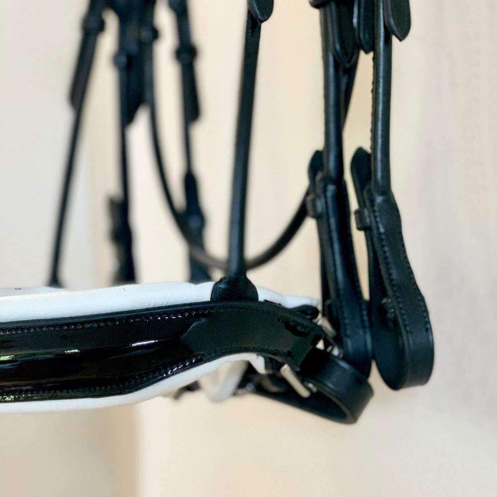 The Betty - Black Patent Rolled Leather Double Bridle