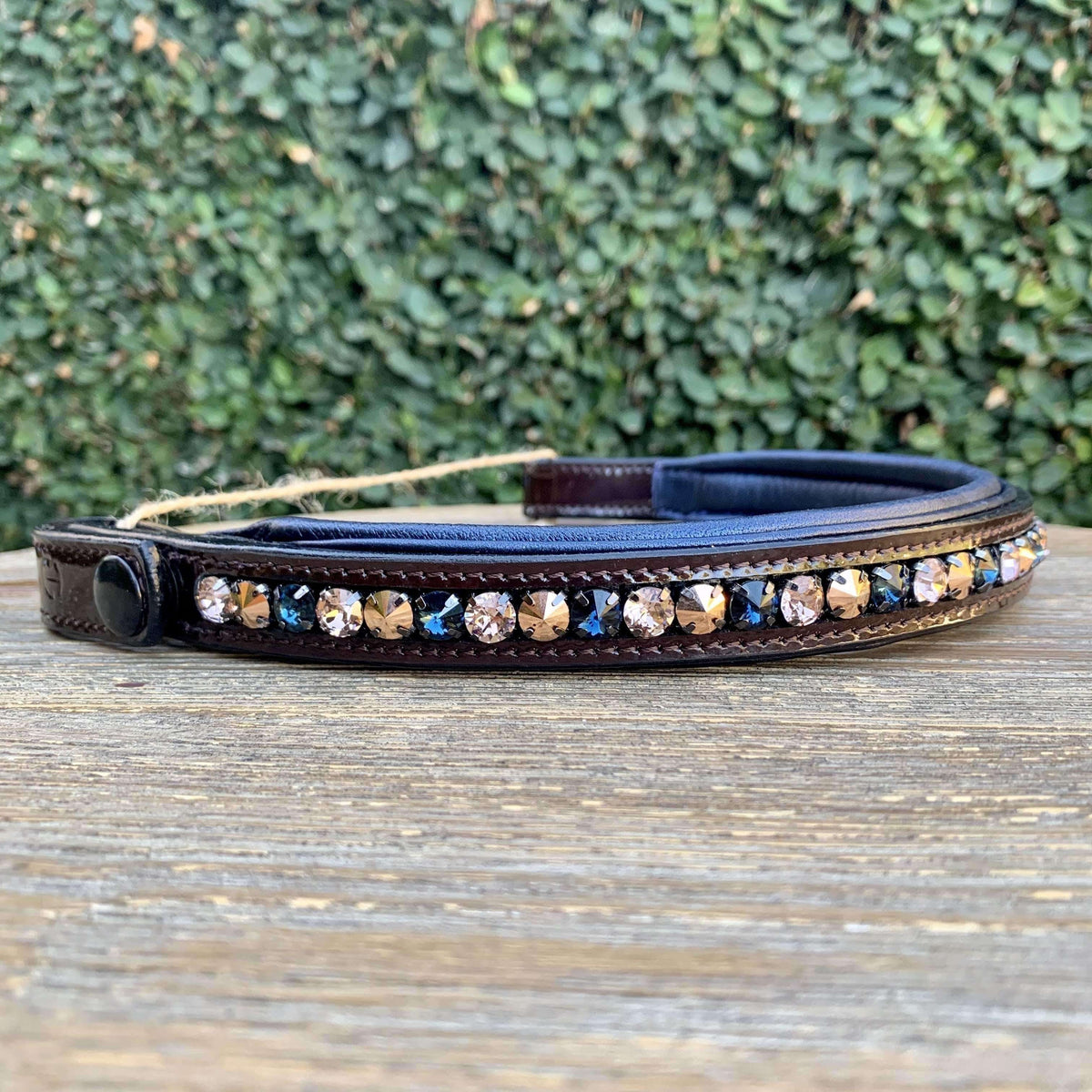Halter Ego® Swarovski Crystal Patent Browband - Rose Gold & Montana Blues - Straight