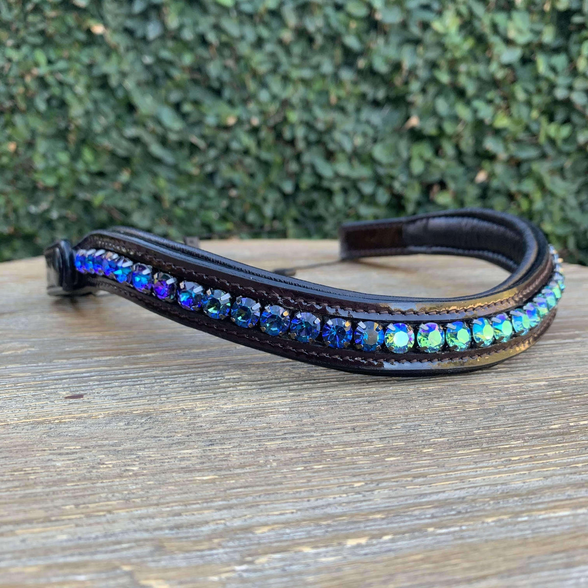 Halter Ego® Swarovski Crystal Patent Browband - Limited Edition - Peacock