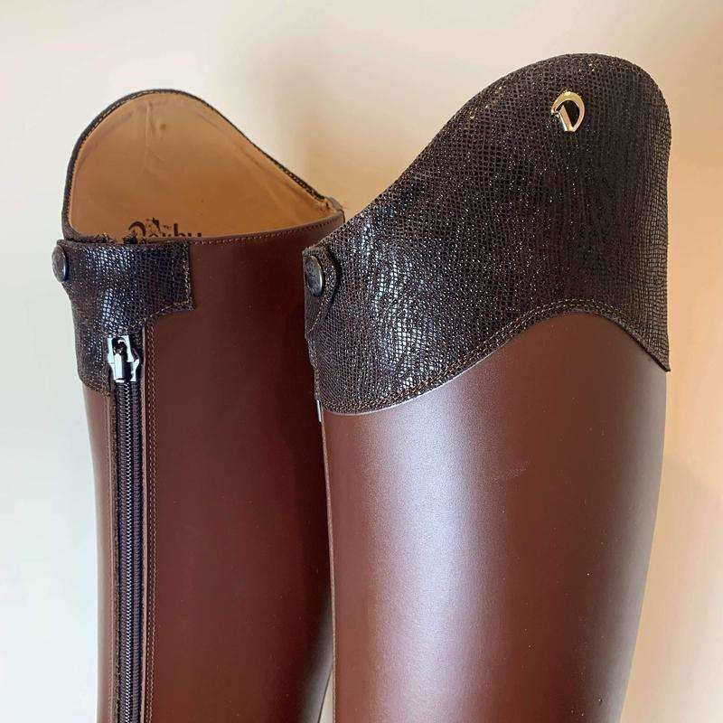 Brown Prestige Dressage Boots with Trim - Size 41