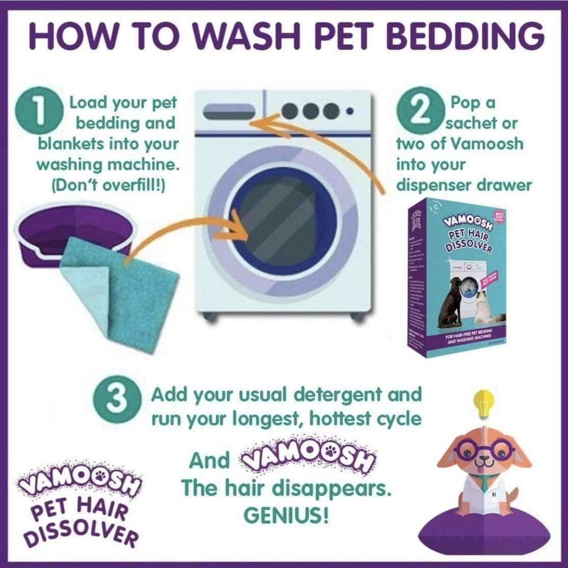 How to wash pet bedding with Vamoosh!