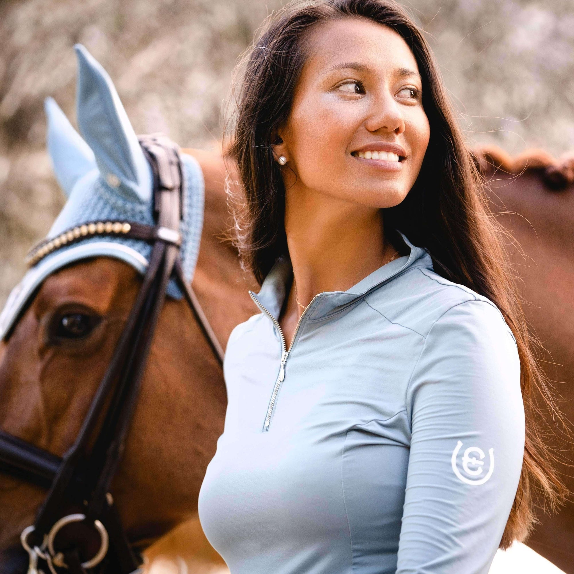 Equestrian Stockholm UV Protection Top Steel Blue