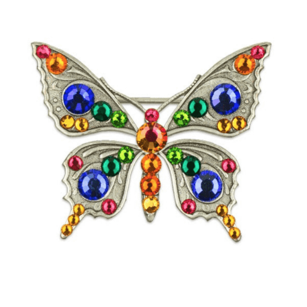 Antique Silver Butterfly Swarovski Brooch