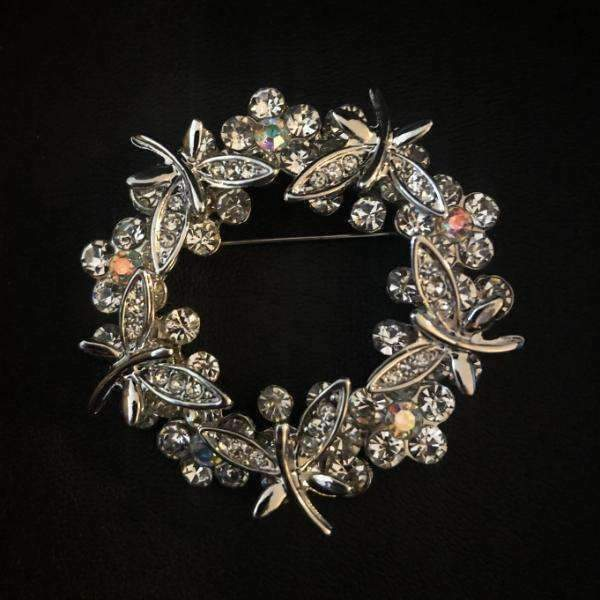 Crystal Wreath Pin