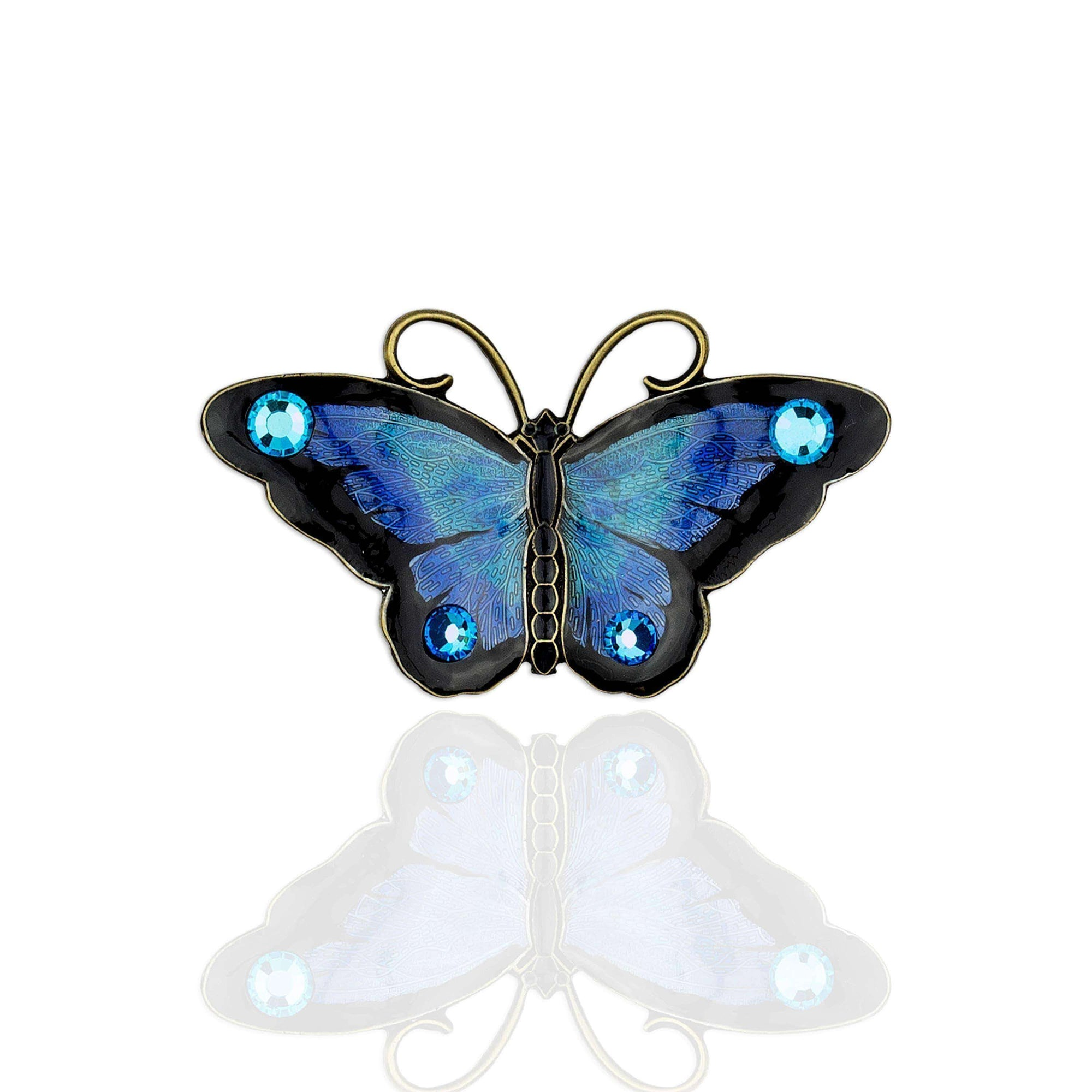 Deep Blue Swarovski Butterfly Stock Pin