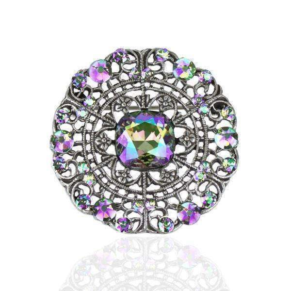 Round Filigree Stock Pin w/Paradise Shine Swarovski® Crystal