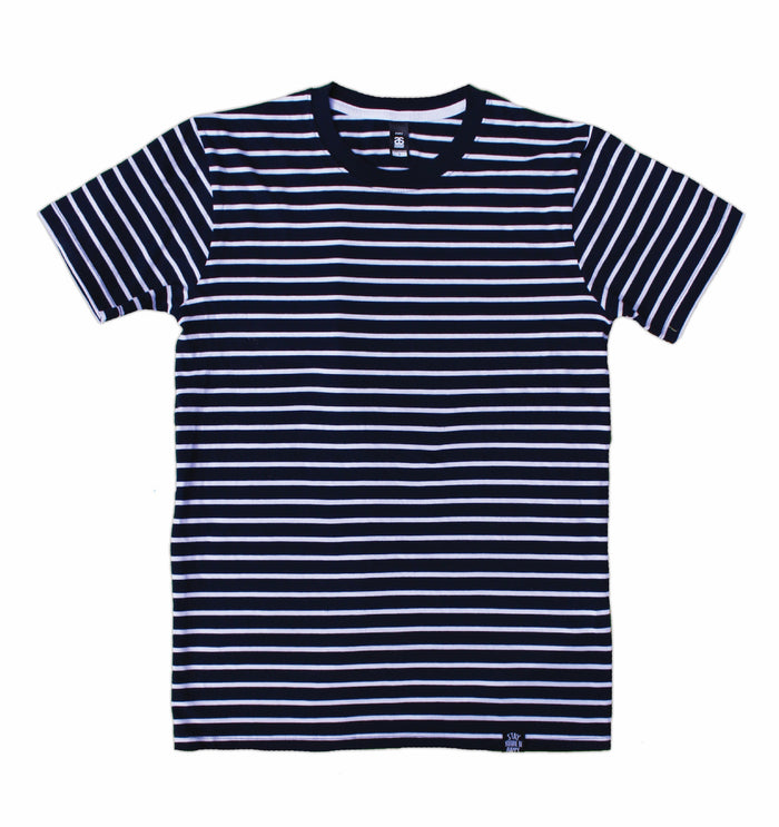 SIGNATURE STRIPED TEE NAVY