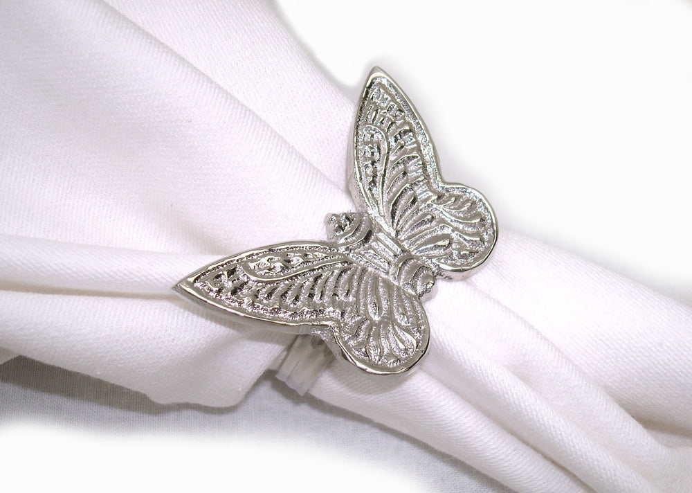 Load image into Gallery viewer, Set of 4 Brass Butterfly Napkin Rings - Blue Rooster Trading