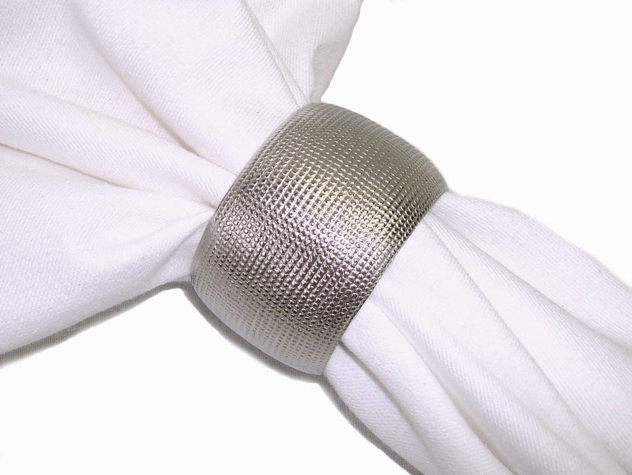 Set of 4 Brass Cylinder Napkin Ring Silver Finish - Blue Rooster Trading