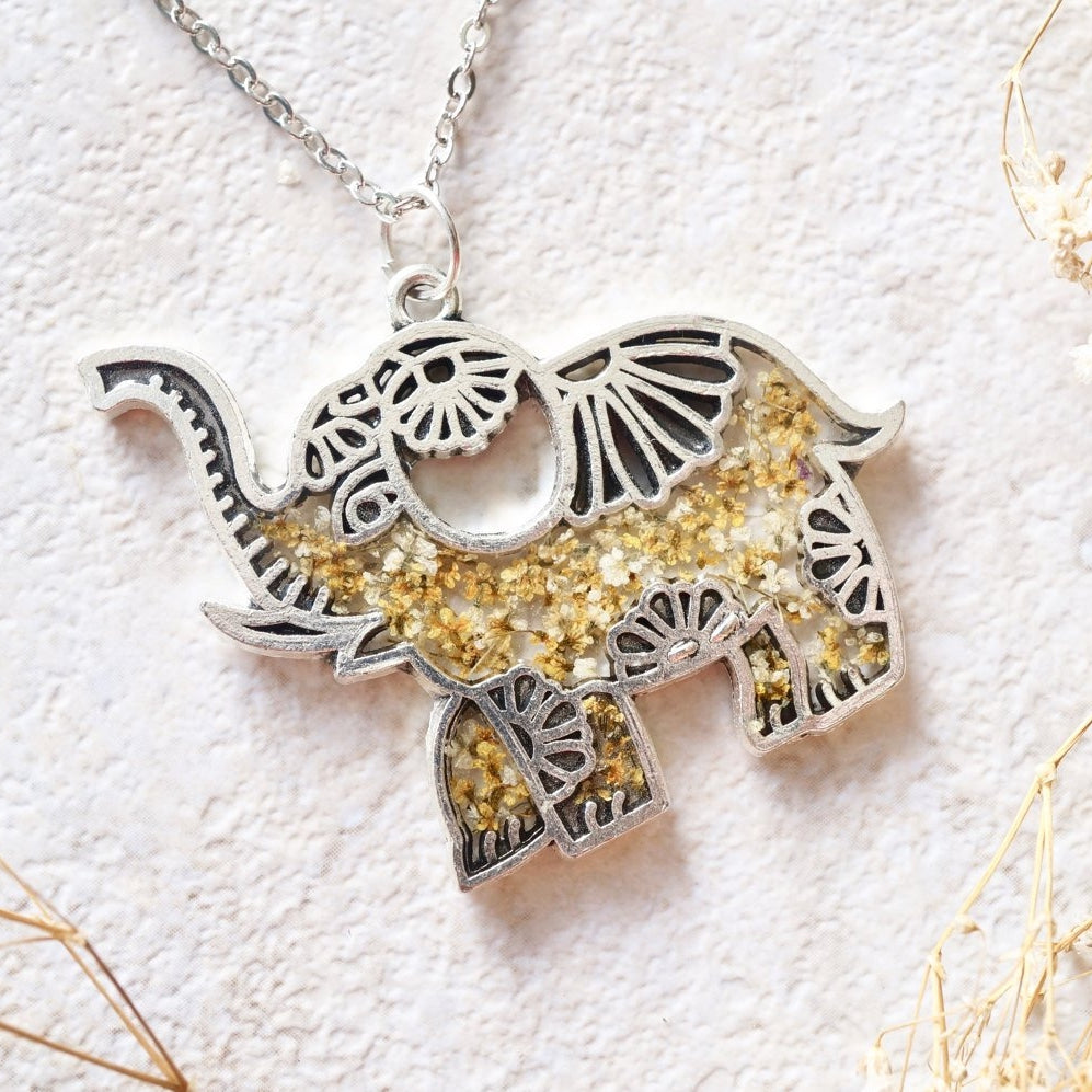 Pressed Flowers Silver Tribal Elephant Necklace