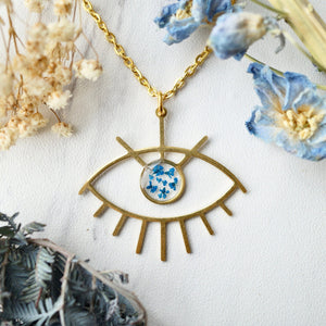 Load image into Gallery viewer, Pressed Flowers Brass Eye in Blue Necklace