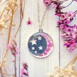 Pressed Flowers Silver Moon & Stars Necklace